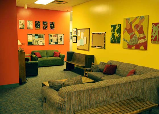 Couches in the waiting room at DCE